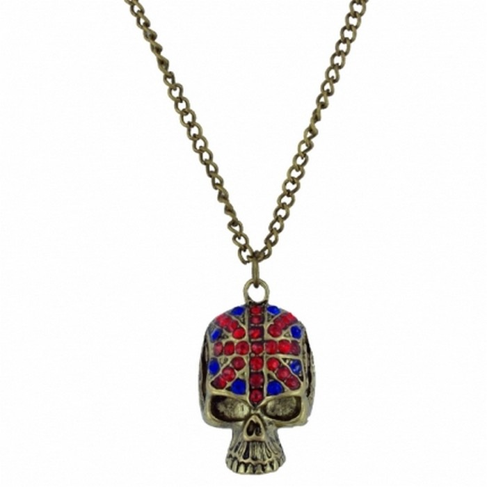 Union Jack golden tone skull longline necklace